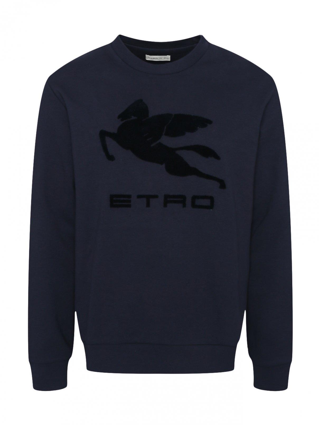 Свитшот из хлопка с аппликацией и логотипом Etro  –  Общий вид
