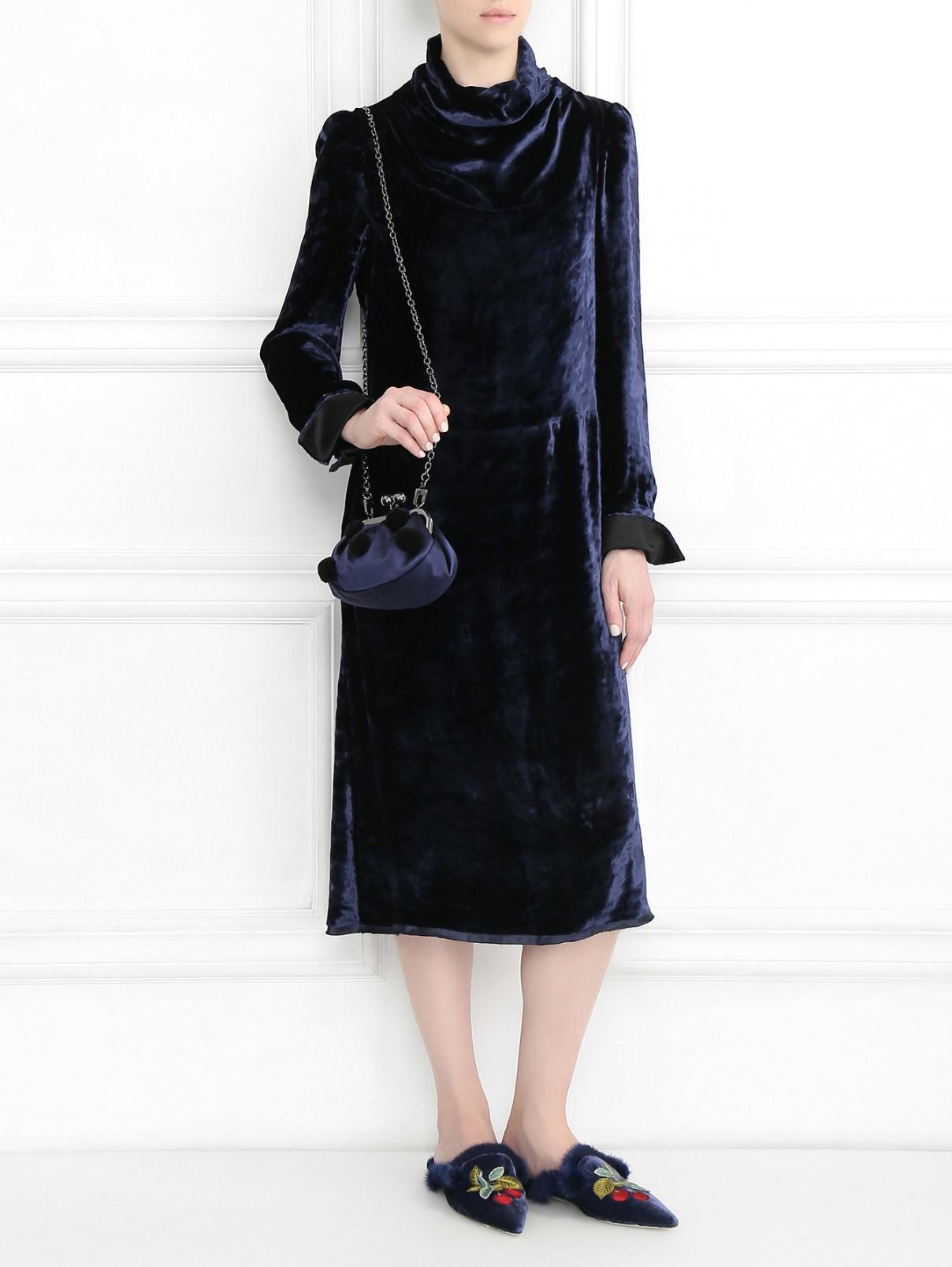Мули из бархата с вышивкой и декоративной меховой отделкой Alberta Ferretti  –  Модель Общий вид