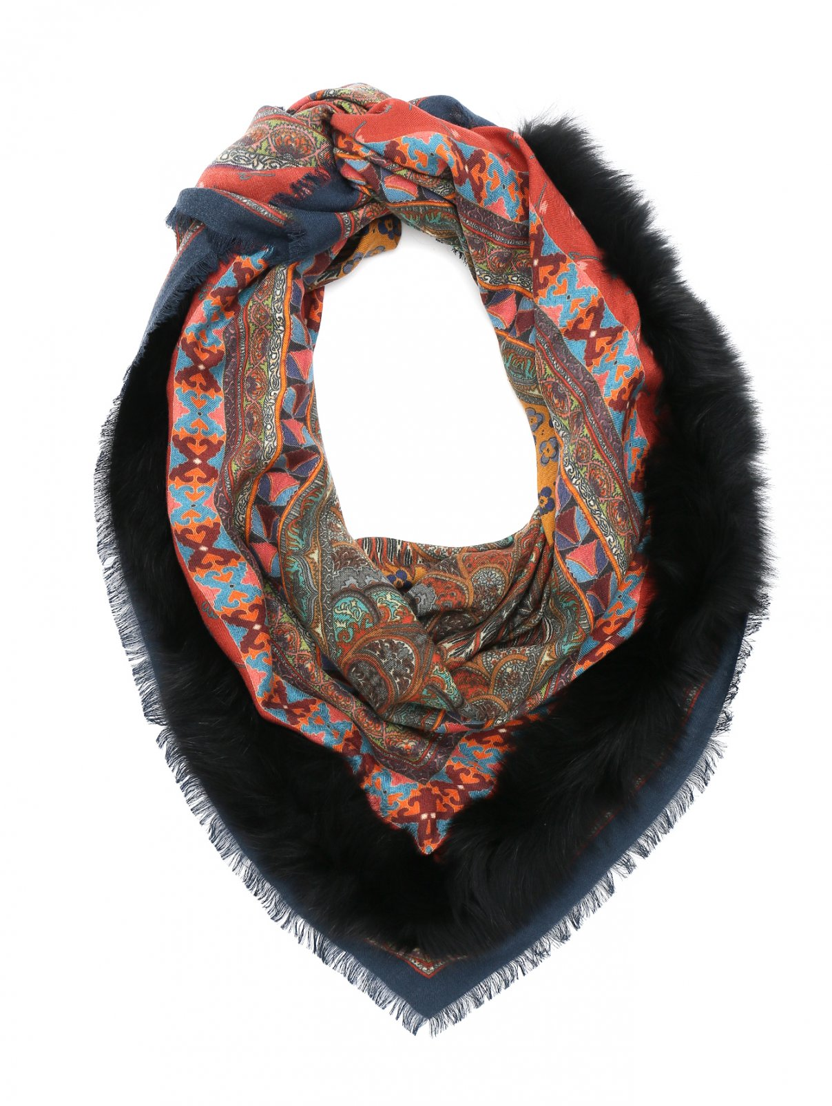 Платок из кашемира и шелка с отделкой мехом лисы Etro  –  Общий вид