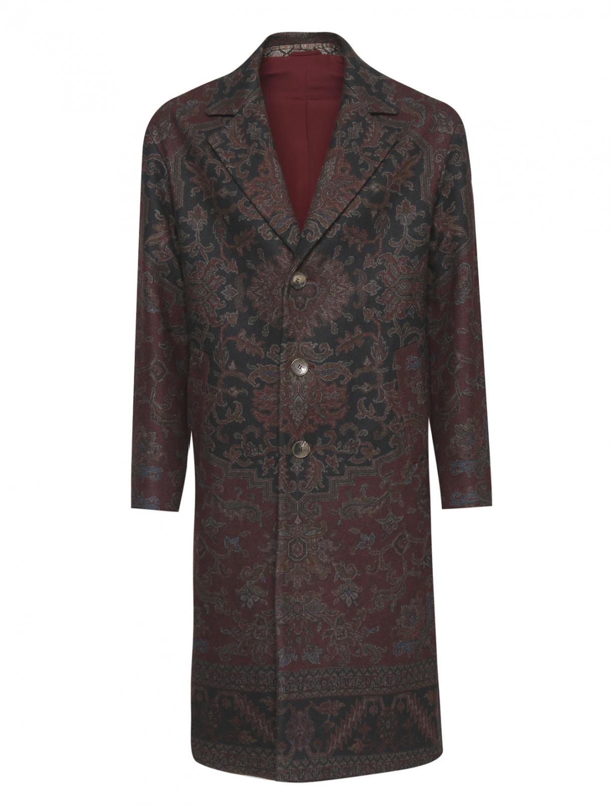 Пальто однобортное из шерсти с узором Etro  –  Общий вид