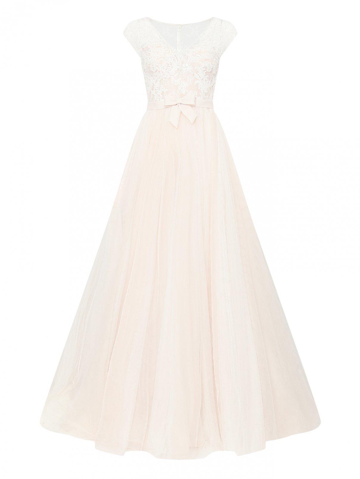 Платье макси с пышной юбкой из сетки с вышивкой на топе и бантом Rosa Clara  –  Общий вид