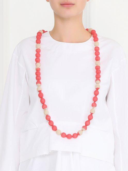 Ожерелье из бусин обтянутых трикотажем - Модель Верх-Низ