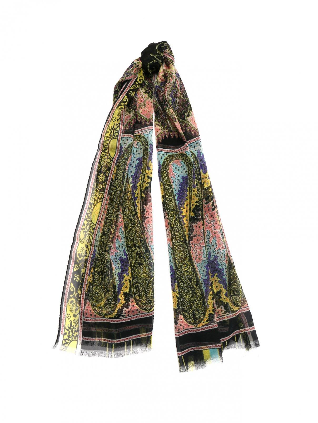 Шарф шелковый с узором пейсли Etro  –  Общий вид