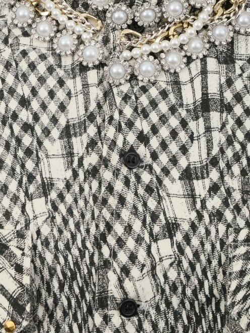 """Рубашка из хлопка с узором """"клетка"""" - Деталь"""